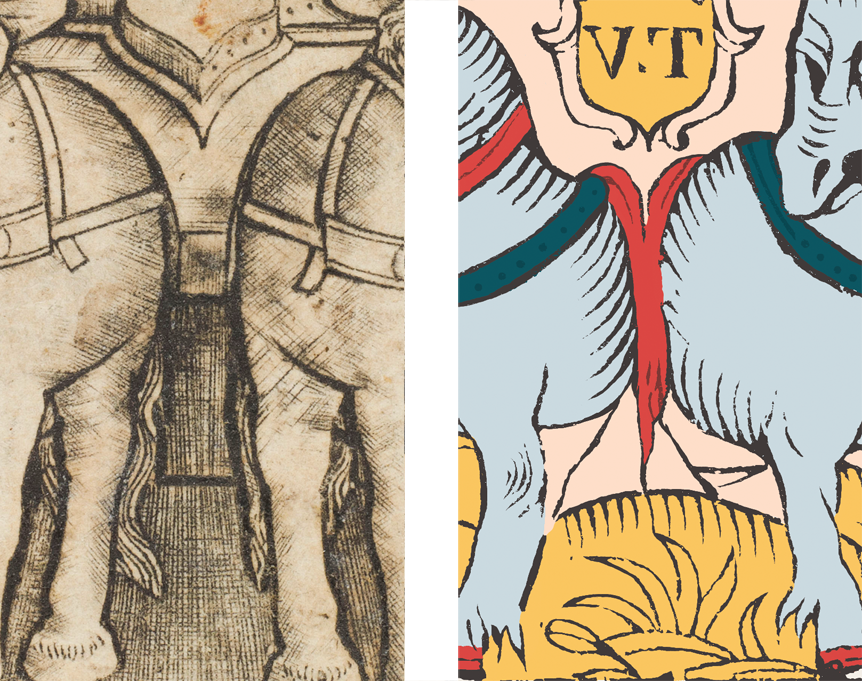 Comparaison des formes en Y et en accolade dans le Triomphe de Finiguerra et le Chariot de Marseille.